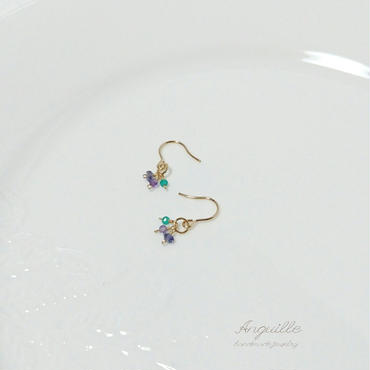 14kgf*Petite Earrings [Iolite&Amethyst&GreenOnyx(B)]*