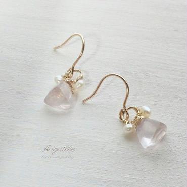 14kgf*Teddy Bear Earrings[Rose Quartz & Fresh Water Pearls*]