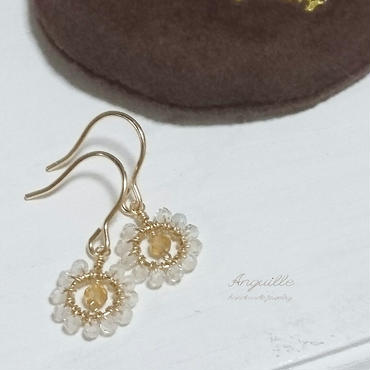 14kgf*Petite Flower Earrings[Citrin & White Topaz]*