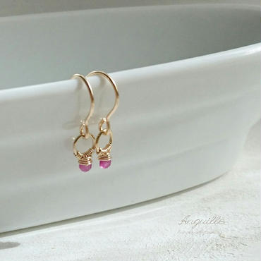 14kgf*Mini Ring Earrings  [Ruby]*
