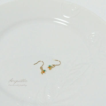 14kgf*Petite Earrings [Citrin&Carnerian&GreenOnyx(B)]*