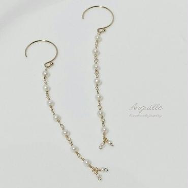 14kgf*Fresh Water Pearls Long Earrings*