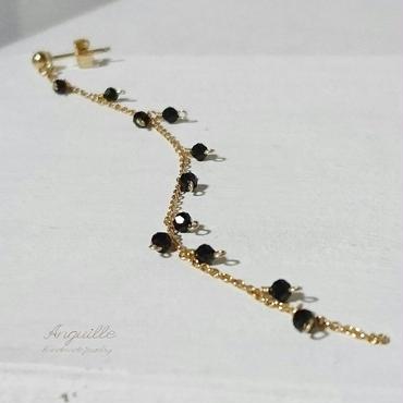 14kgf*Black Spinel Pretty Long Earrings(One Ear)*