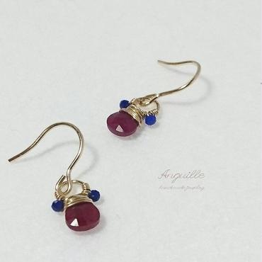 14kgf*Ruby & Lupis Luzuli Teddy Earrings*