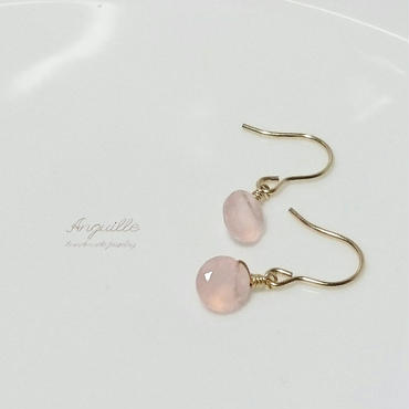 14kgf*Petite Earrings [Facet Cut Pink Chalcedony]*
