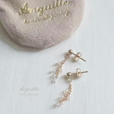 14kgf*White Topaz Short Chain Earrings*