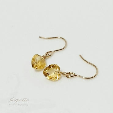 14kgf*Petite Earrings[Heart Shape Cut Citrin]*