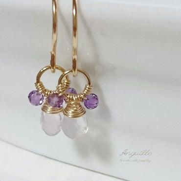 14kgf*Teddy Bear Earrings[Sukororaito & Amethyst]*