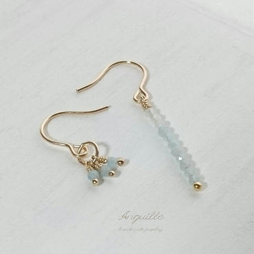 14kgf*Figure One Asymmetry Earrings[Aquamarine]*