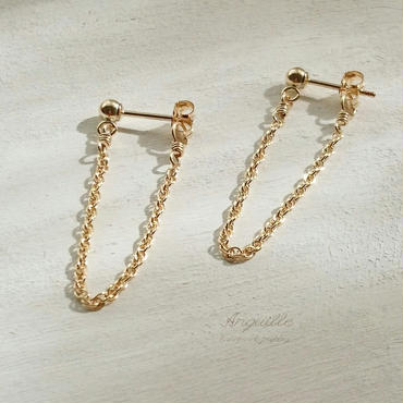 14kgf*Chain Earrings[Natural]*