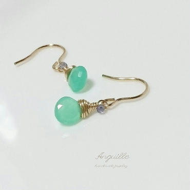 14kgf*One Point Earrings[Marron Cut Chrysoprase & Iolite]*