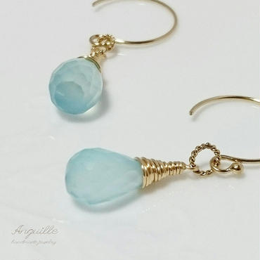 14kgf*Sea Blue Calcedony Drop Earrings*