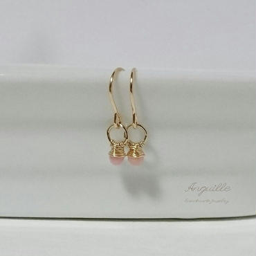 14kgf*Mini Ring Earrings  [Pink Opal]*