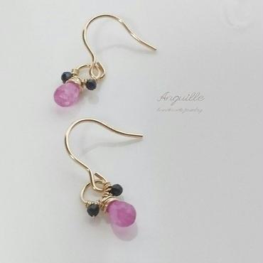 14kgf*Pink & Blue Sapphire Teddy Earrings*