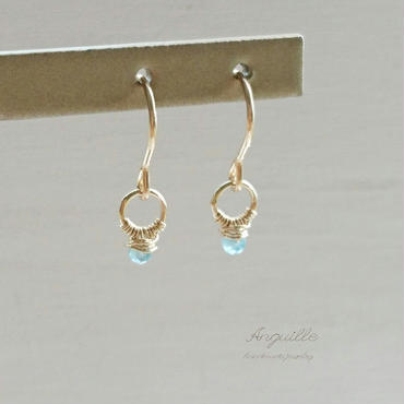 14kgf*Mini Ring Earrings  [Blue Appetite]*