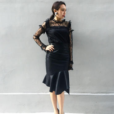 Lace Frill Blouse BLACK