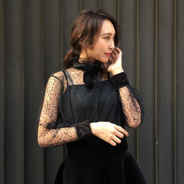 See-through Blouse BLACK