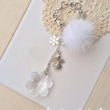 雪の天使のバッグチャーム