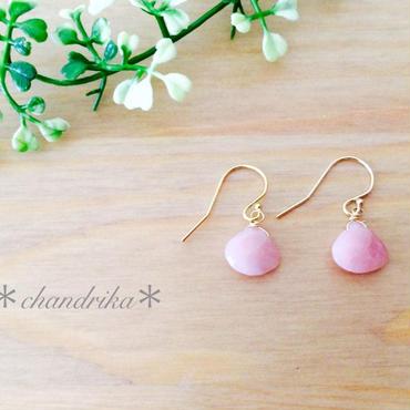 桜色ピンクオパールのひと粒ピアス