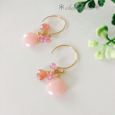 桜色ピンクオパールxインカローズxピンクトパーズのピアス
