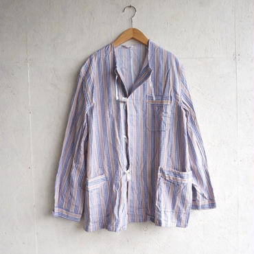 Deadstock pajamas shirts BEIGE×BLUE