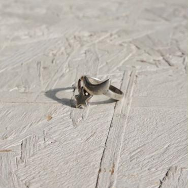 Vintage silver ring Moon & star #11
