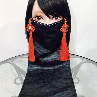 アルマジ製作所 オリジナルマスク/黒 赤タッセル×狐×鳥居 B