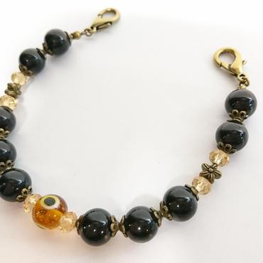 Phantom Jewelry/ファントムジュエリー 化け物の棲む羽織紐(黒パール×橙)