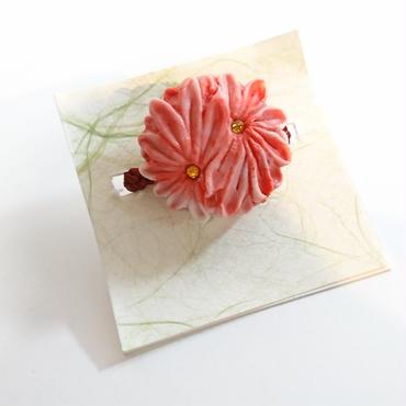 緋紋華/ひもんか   二輪菊帯留め スカーフ留め(赤)