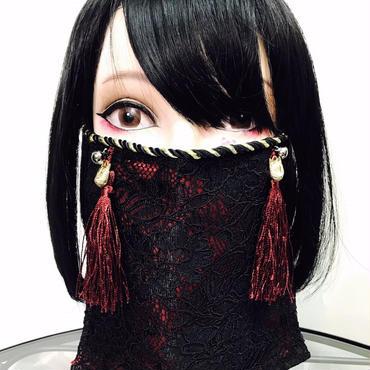 アルマジ製作所 オリジナルマスク/赤 赤タッセル×狐×鈴