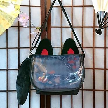 アルマジ製作所  お狐バッグ(赤×黒)