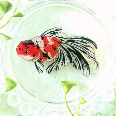 ねぎねぎ/NEGINEGI 金魚(東錦)*ブローチ