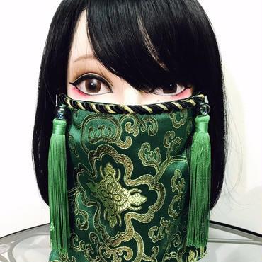 アルマジ製作所 オリジナルマスク 緑チャイナ柄×緑タッセル