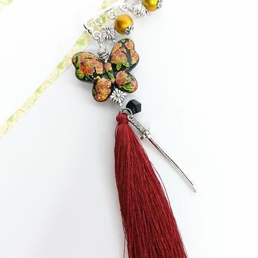 Phantom Jewelry/ファントムジュエリー 蝶々と刀とタッセルのイヤーフック(GD×赤タッセル)