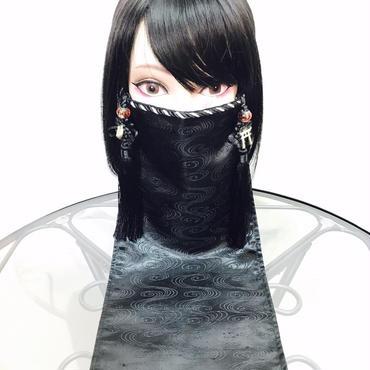 アルマジ製作所 オリジナルマスク/黒 黒タッセル×狐×鳥居