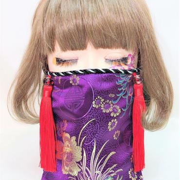アルマジ製作所 オリジナルマスク 紫チャイナ柄×赤タッセル