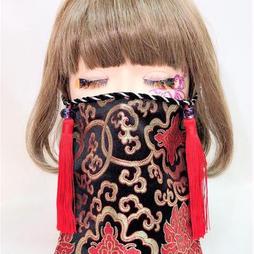 アルマジ製作所 オリジナルマスク 黒チャイナ柄×赤タッセル