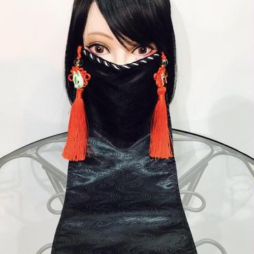 アルマジ製作所 オリジナルマスク/黒 赤タッセル×狐×鳥居 A