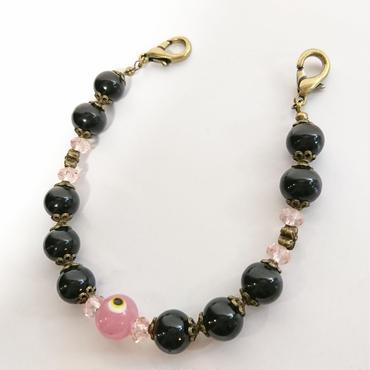 Phantom Jewelry/ファントムジュエリー 化け物の棲む羽織紐(黒パール×ピンク)