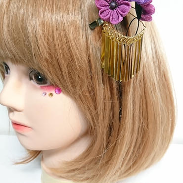 赤猫家/アカネコヤ 小花の花束クリップ(紫) ak-088