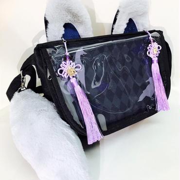 アルマジ製作所 タッセル付きお狐バッグ 黒×グレー×紫タッセル