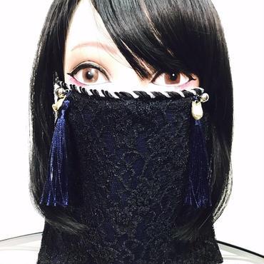 アルマジ製作所 オリジナルマスク/紺 紺タッセル×狐×鈴