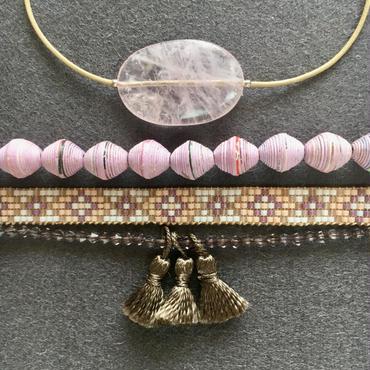 Macrame Beaded Bracelet (set) / マクラメビーズブレスレット (セット) - ローズクォーツ - 010
