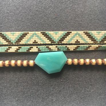 Macrame Beaded Bracelet / マクラメビーズブレスレット - アマゾナイト&クリスタルクォーツ - 013