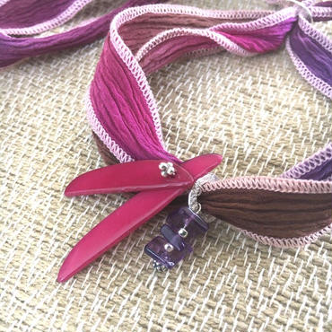 Silk Chiffon Bracelet - シルクシフォンブレスレット - アメジスト - 001