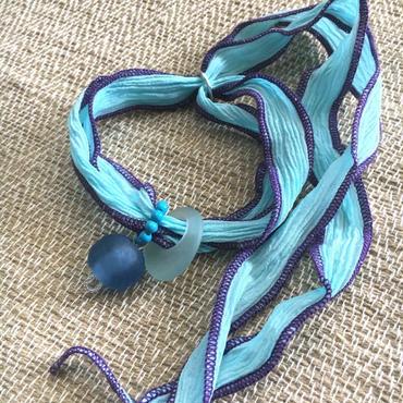 Silk Chiffon Bracelet - シルクシフォンブレスレット - ターコイズ - 002