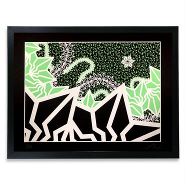 "BAKIBAKI screen print ""Luminetic River"" (額付)"