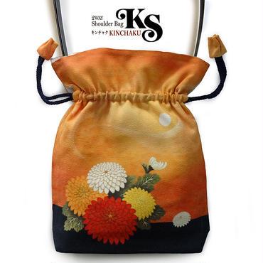 No.62 KSB★2WAY   Shoulder Bag KINCHAKU 【Misty moon 】巾着ショルダー【おぼろ月】[内ポケット+ビニールポーチ付]