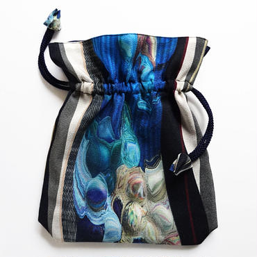 2WAY   Shoulder Bag KINCHAKU  【 Blue Trace 】巾着ショルダー 【 碧い痕跡 】