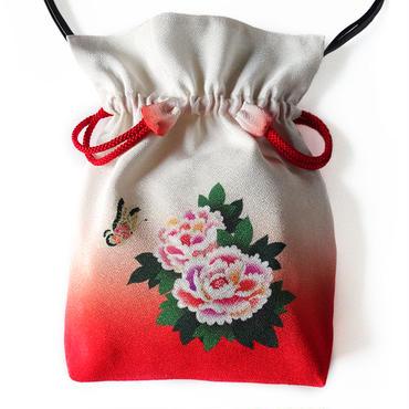 No.38 KSB★2WAY   Shoulder Bag KINCHAKU【 Peony on crimzon  】  巾着ショルダー バッグ【 牡丹 紅ぼかし 】[内ポケット無しビニールポーチ付]